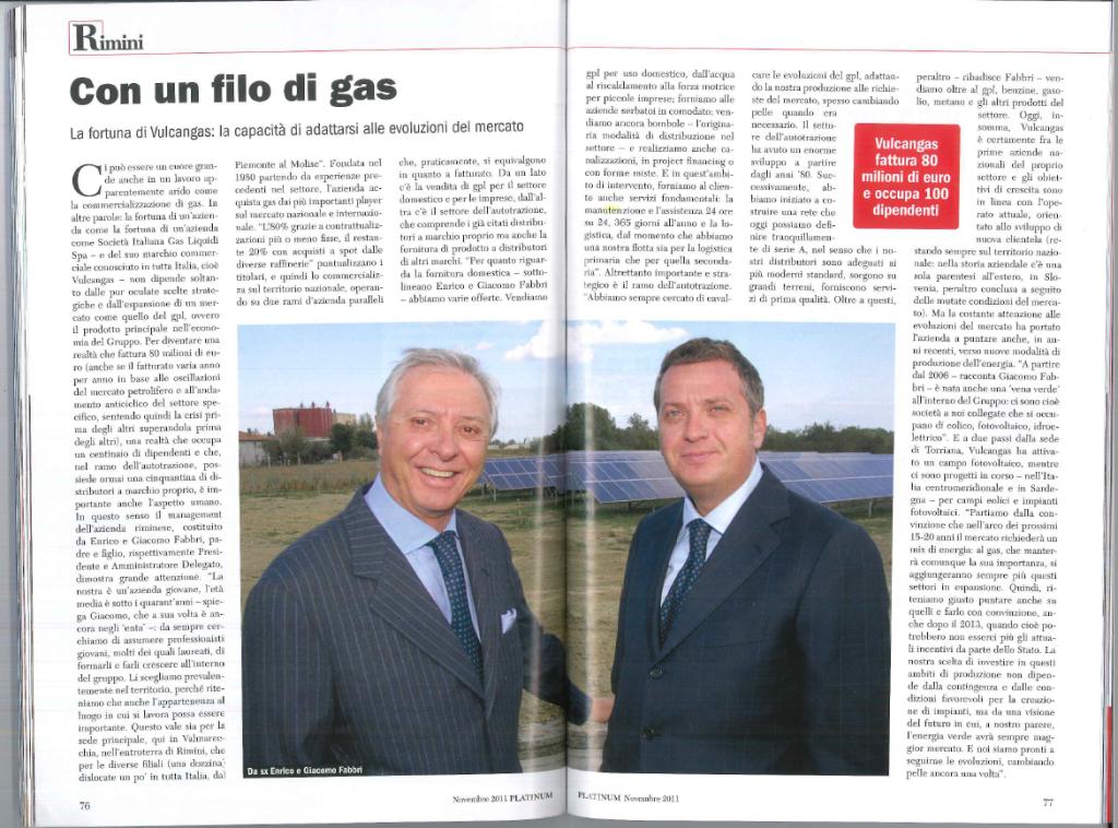 Enrico Fabbri & Giacomo Fabbri - Vulcangas - GNL - GPL - rivista platinium aziende e protagonisti - giugno 2008