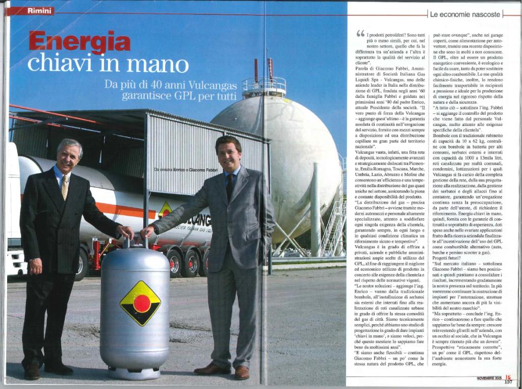 Giacomo Fabbri - Vulcangas - GNL - GPL - rivista platinium aziende e protagonisti - novembre 2005